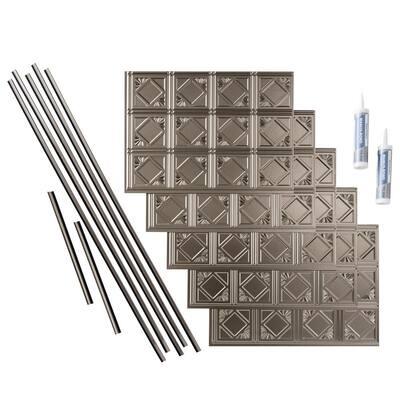 Traditional 4 18 in. x 24 in. Brushed Nickel Vinyl Decorative Wall Tile Backsplash 15 sq. ft. Kit