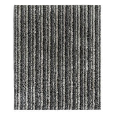 Kennedy Shag Silver Stripe 5 ft. x 7 ft. Area Rug