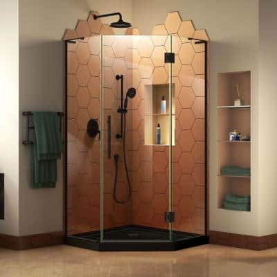 Prism Plus 36 in. x 36 in. x 74.75 in. Semi-Frameless Neo-Angle Hinged Shower Enclosure in Satin Black with Shower Base