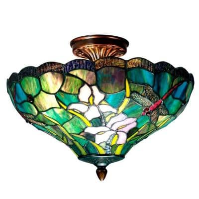 2-Light Savannah Tiffany Antique Brass Semi-Flush Mount Light