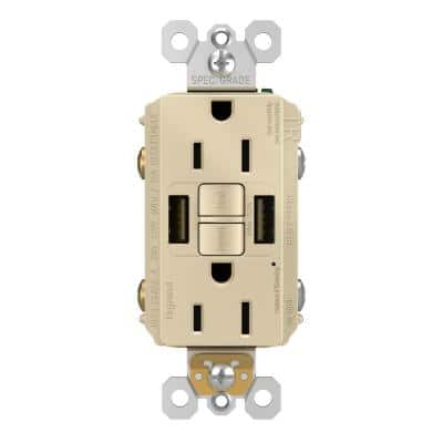 radiant 15 Amp 125-Volt Tamper Resistant Self-Test GFCI Duplex Outlet with Type A/A USB with Ivory