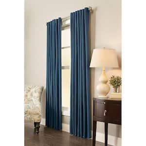 Indigo Solid Back Tab Room Darkening Curtain - 54 in. W x 108 in. L