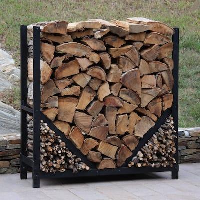 4 ft. Firewood Log Rack with Kindling Wood Holder - Straight Sides