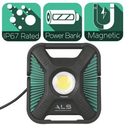 6,000 Lumens Heavy-Duty LED Bluetooth Work Light with Integrated Power Bank