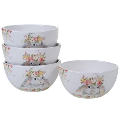 Sweet Bunny 4-Piece Seasonal Multicolored Earthenware 26 oz. Ice Cream Bowl Set (Service for 4)