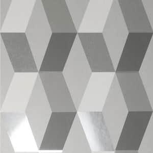 Rochelle Grey Geometric Vinyl Peelable Wallpaper (Covers 56.4 sq. ft.)