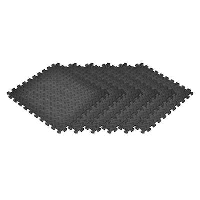 Black 24 in. x 24 in. EVA Foam Solid Color Diamond Plate Interlocking Tile (60-Tile)