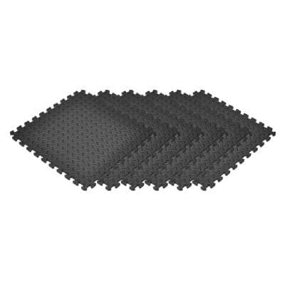 Black 24 in. x 24 in. EVA Foam Solid Color Diamond Plate Interlocking Tile (36-Tile)