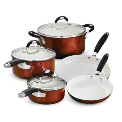 Style Ceramica 8-Piece Metallic Copper Cookware Set with Lids