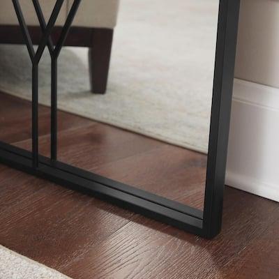 Oversized Black Metal Frame Diamond Windowpane Classic Floor Mirror (70 in. H x 29 in. W)