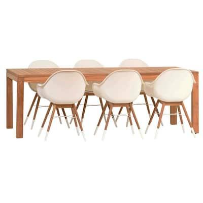 Amazonia Charlotte Deluxe 7-Piece Wood Rectangular Outdoor Dining Set
