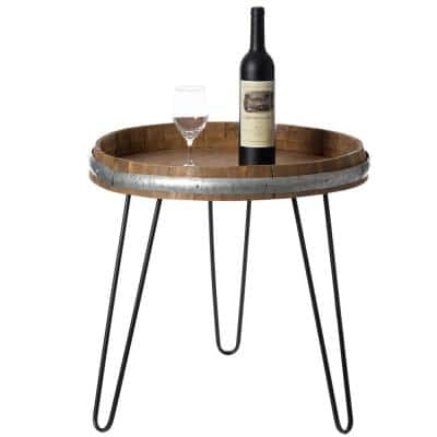 Wooden Wine Barrel Head End Table Accent Coffee Table