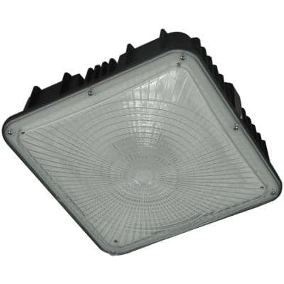 100-Watt Equivalent Integrated LED Square Bronze Dimmable 4600 Lumens Outdoor Wet Location Canopy Light Fixture, 5000K
