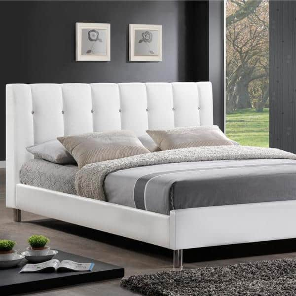 Baxton Studio Vino Transitional White, Leather Upholstered Queen Size Bed Frame
