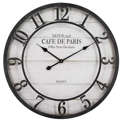 Caf De Paris Shiplap Distress Black and White Wall Clock