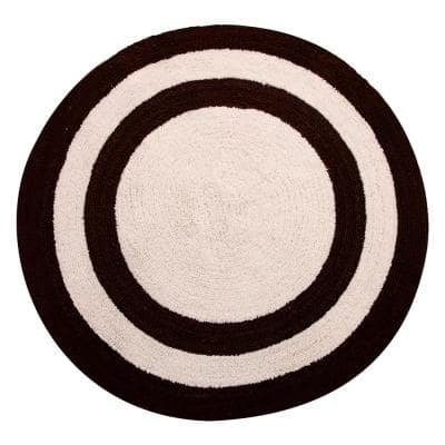 Two Tone 36 in. Round Cotton Reversible Chocolate/Ivory 200 GSF Machine Washable Bath Rug