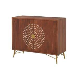 Natural Finish Wood Accent Cabinet with Inlay Design (39.40 in. W x 31.50 in. H)