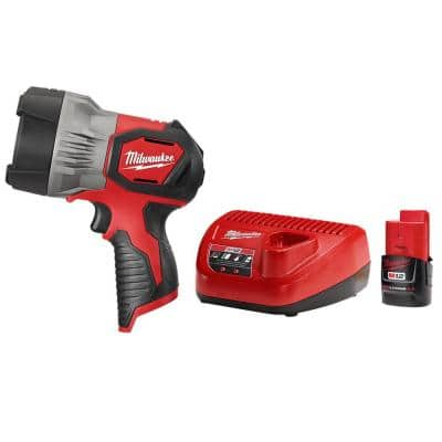 M12 12-Volt Lithium-Ion Cordless 750 Lumens TRUEVIEW LED Spotlight W (1) 2.0 Ah Battery and Charger