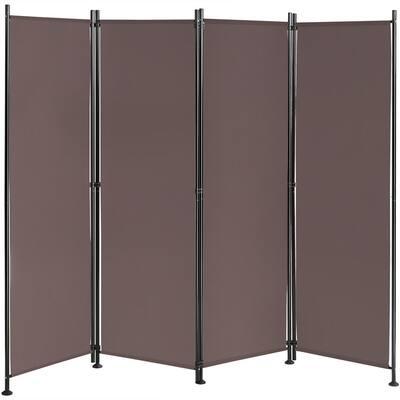 5.58 ft. Brown 4-Panel Room Divider