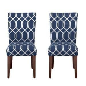 Parsons Navy Blue and Cream Lattice Upholstered Dining Chair (Set of 2)