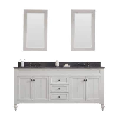 Potenza 72 in. W x 33 in. H Vanity in Ivory Grey with Granite Vanity Top in Blue Limestone with White Basin and Mirrors
