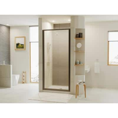 Legend 35.625 in. to 36.625 in. x 69 in. Framed Hinged Shower Door in Matte Black with Aquatex Obscure Glass