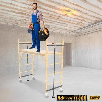 Safeclimb Baker 6.2 ft. L x 6.25 ft. H x 2.5 ft. D Steel Scaffold Platform with Wheels and Scafflock, 1100 lbs. Capacity