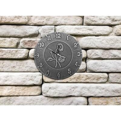 12 in. Antique Black Terra Cotta Clock