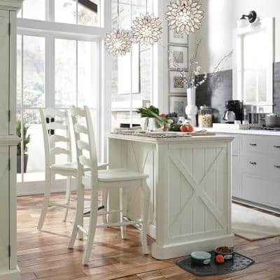 Seaside Lodge Hand Rubbed White Kitchen Island and 2 Stools with with Granite Top
