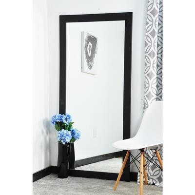 Medium Matte Black Composite Hooks Modern Mirror (32 in. H X 65.5 in. W)