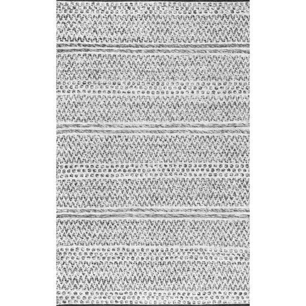 Nuloom Natosha Chevron Striped Silver 12 Ft X 15 Ft Indoor Outdoor Area Rug Veme01a 12015 The Home Depot