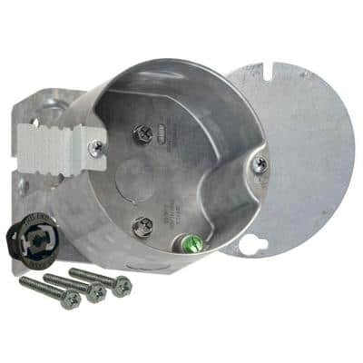 4 in. Round Ceiling Fan Support Box For Old and New Work, 2-1/8 in. Deep with 1/2 in. KO's