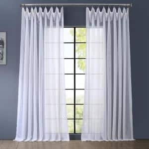 White Solid Extra Wide Rod Pocket Sheer Curtain - 100 in. W x 120 in. L