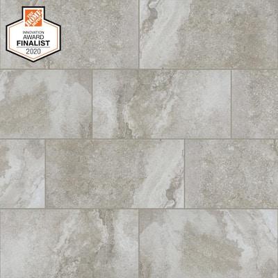 QuicTile 12 in. x 24 in. Lenox Grey Matte Porcelain Locking Floor Tile (9.6 sq. ft. / case)