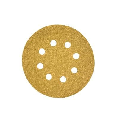 5 in. 8-Hole Gold 240-Grit Stearated Aluminum Oxide Hook and Loop Sanding Discs (50 per Box)