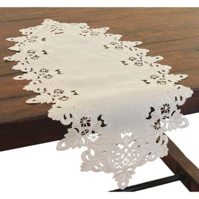 Victorian Lace 16 in. x 34 in. Embroidered Cutwork Table Runner, Ivory