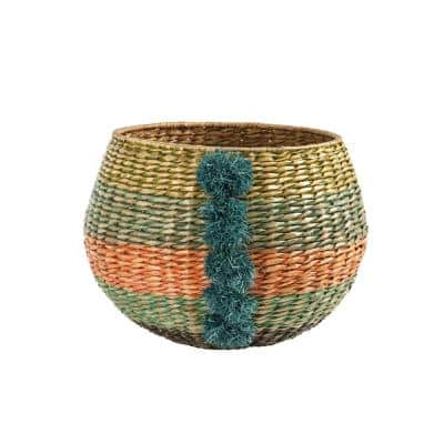 Cattail Handwoven Decorative Basket with Pom Poms