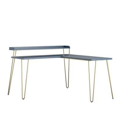 Shanewood 55.1 in. L-Shape Navy with Gold Legs Computer Desk with Riser