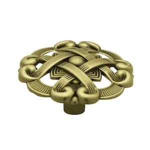 1-1/2 in. (38 mm) Antique Brass Weave Pattern Round Cabinet Knob