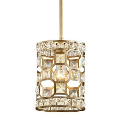 Paris 1-Light Champagne Gold with Clear Crystal Mini Pendant