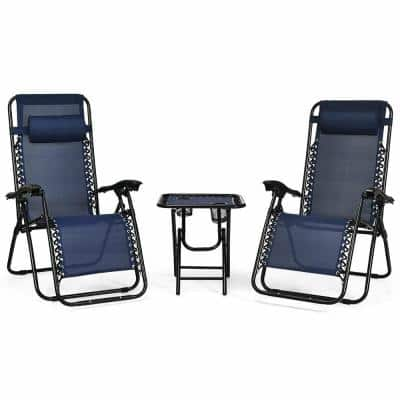 3-Piece Folding Portable Zero Gravity Metal Reclining Outdoor Lounge Chairs with Coffee Table