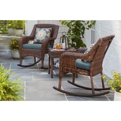 Cambridge Brown Wicker Outdoor Patio Rocking Chair with Sunbrella Denim Blue Cushions