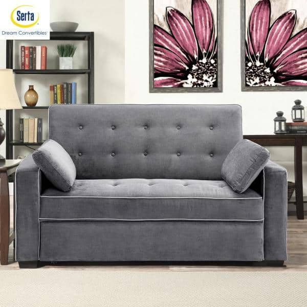 Serta - Augustus 36 in. Grey Polyester 2-Seater Convertible Tuxedo Sofa with Square Arms