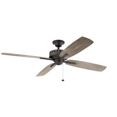 Eads XL Patio 65 in. Indoor/Outdoor Weathered Zinc Downrod Mount Ceiling Fan with Wall Control