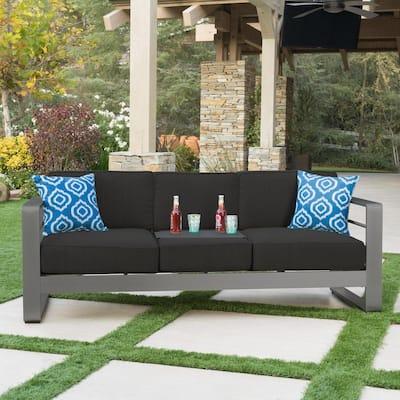 Valentina Grey Aluminum Outdoor Sofa with Dark Grey Cushions and Tray