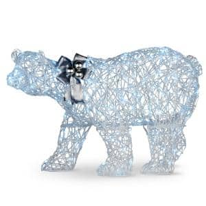 48 in. Glittered Polar Bear with 200 Cool White Twinkling LED Lights