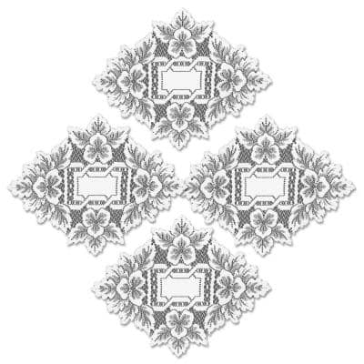 Heirloom 12 in. x 9 in. White Doily (Set of 4)