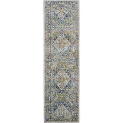 Global Vintage Blue/Green 2 ft. x 8 ft. Oriental Traditional Runner Rug