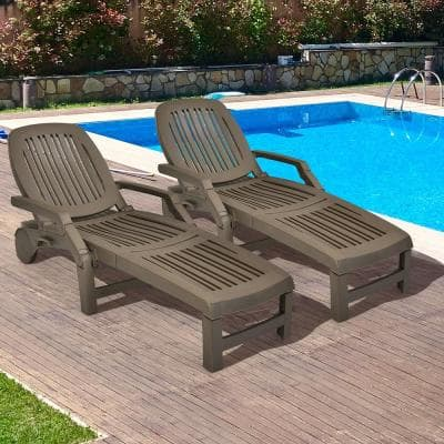 Coffee Plastic Patio Adjustable Chaise Lounge Chair Folding Sun Lounger Recliner (Set of 2)