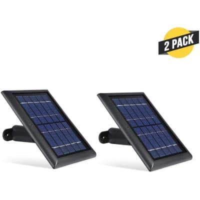 Solar Panel Compatible with Ring Spotlight Cam Battery and Ring Stick Up Cam Battery (2 Pack, Black)